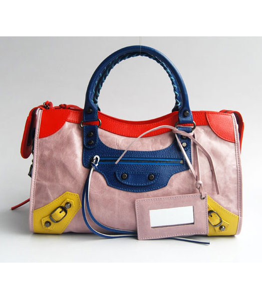 Balenciaga Giant City Bag Pink Purple with Red/Blue/Yellow