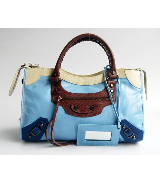 Balenciaga Giant City Bag Light Blue with Apricot/Coffee/Blue
