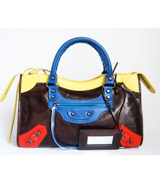 Balenciaga Giant City Bag Dark Coffee with Blue/Yellow/Red