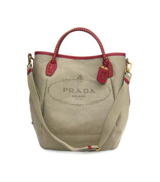 Prada Tote Bag Apricot Canvas with Red Leather_BR4426