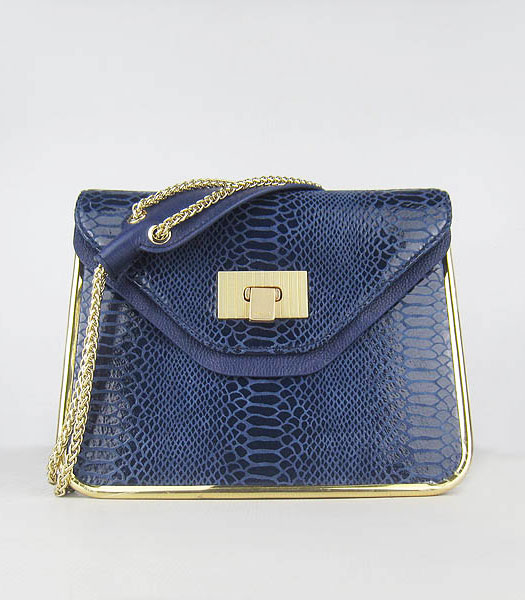 Chloe Sally Snake Pattern Handbag Blue