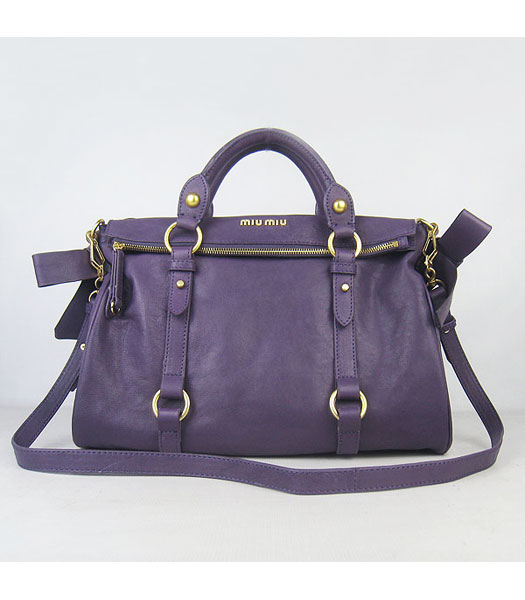 Miu Miu Vitello Lux Satchel Handbag Purple Lambskin - Replica Handbags