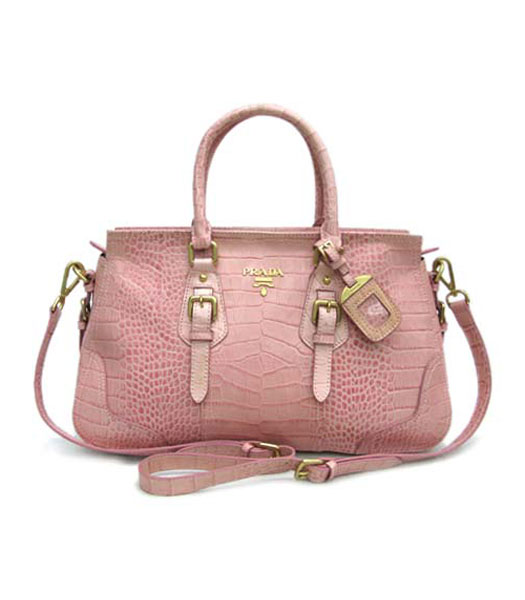 Prada New Tote in Pink Croc Pattern_BR1181