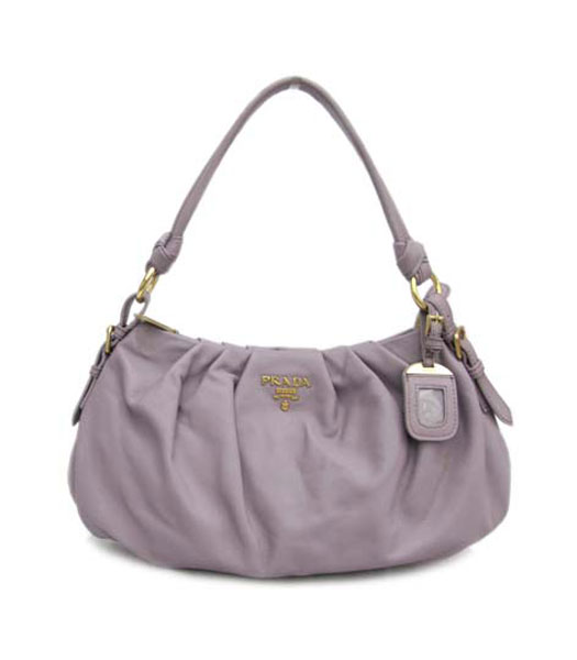 Prada Shoulder Handbag Light Purple Leather_BR3926