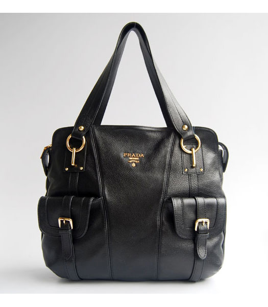 Prada Pockets Tote Handbag Black