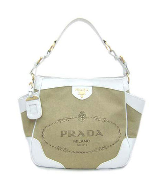 Prada Jacquard Canvas Shoulder Bag with White Leather_BR3793S