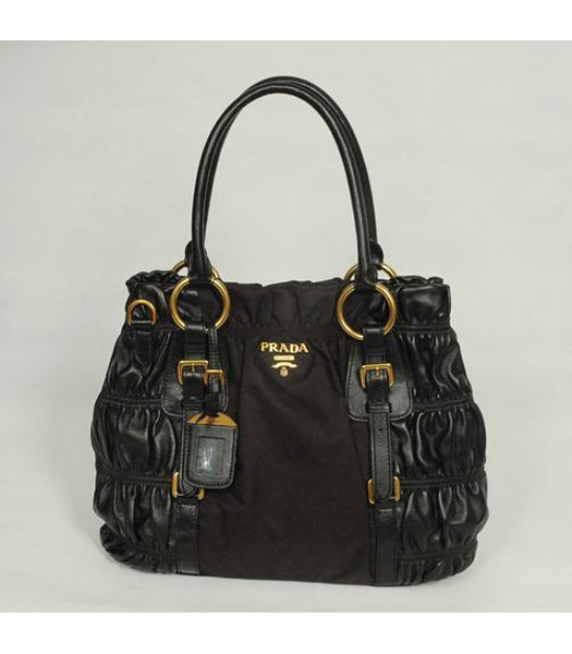Prada Tote Bag Coffee Fabric with Black Leather