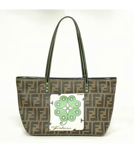 Fendi Roll Canvas Tote Bag with Green Leather Trim