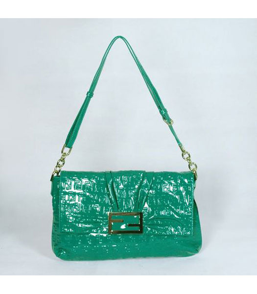 Fendi FF Embossed Messenger Bag Green Lambskin Patent