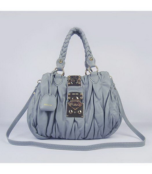 Miu Miu Small Coffer Handbag Grey Lambskin