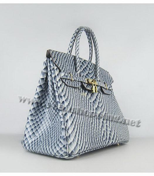 Hermes Birkin 35cm Blue Fish Veins Leather Golden Metal-1
