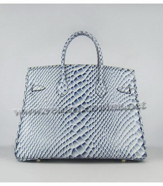 Hermes Birkin 35cm Blue Fish Veins Leather Golden Metal-2