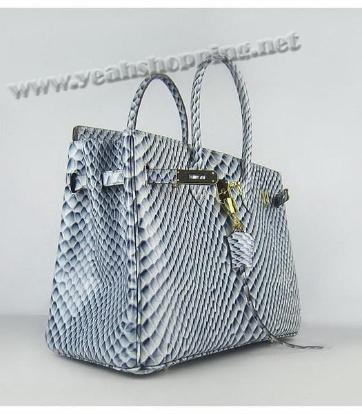 Hermes Birkin 35cm Blue Fish Veins Leather Golden Metal-3