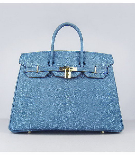 Hermes Birkin 35cm Middle Blue Pearl Veins Leather Golden Metal