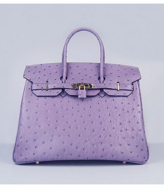 Hermes Birkin 35cm Purple Ostrich Veins Leather Golden Metal
