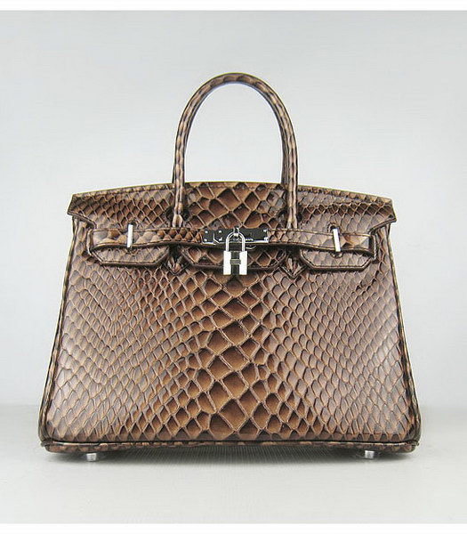 Hermes Birkin 30cm Dark Coffee Fish Veins Leather Silver Metal