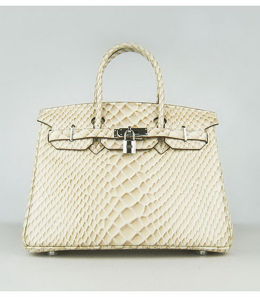 Hermes Birkin 30cm Apricot Fish Veins Leather Silver Metal