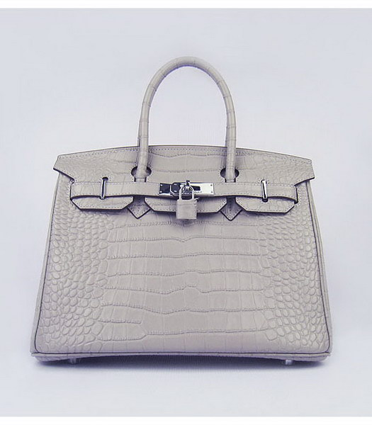Hermes Birkin 30cm Grey Croc Veins Leather Silver Metal