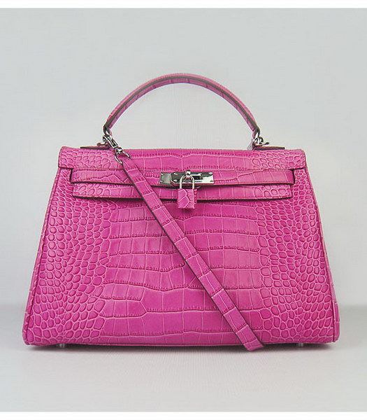 Hermes Kelly 32cm Peach Red Croc Veins Leather Silver Metal