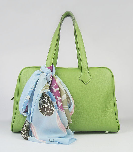 Hermes Victoria II Tote Bag Green Leather with Scarf