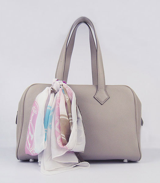 Hermes Victoria II Tote Bag Grey Leather with Scarf