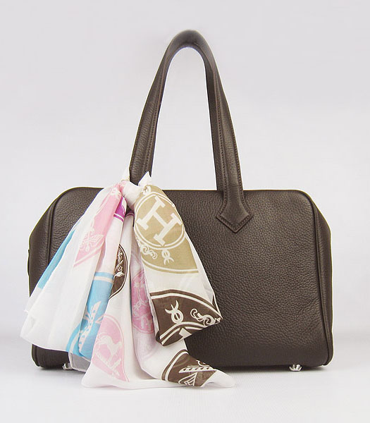 Hermes Victoria II Tote Bag Dark Coffee Leather with Scarf