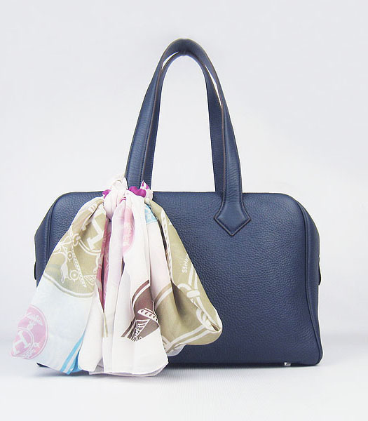 Hermes Victoria II Tote Bag Dark Blue Leather with Scarf