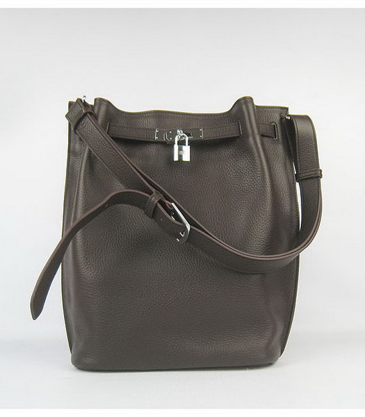 Hermes So Kelly Bag Dark Coffee Togo Leather Silver Metal
