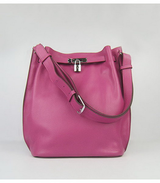 Hermes So Kelly Bag Peach Red Togo Leather Silver Metal