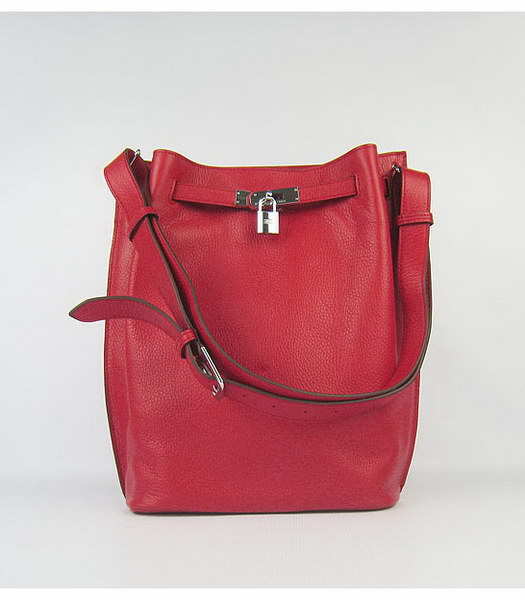 Hermes So Kelly Bag Red Togo Leather Silver Metal