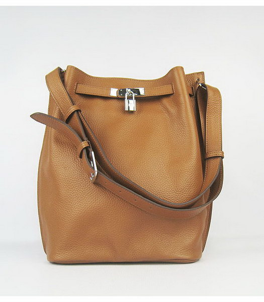 Hermes So Kelly Bag Light Coffee Togo Leather Silver Metal