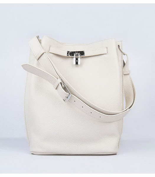 Hermes So Kelly Bag Offwhite Togo Leather Silver Metal