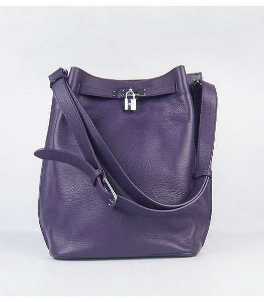 Hermes So Kelly Bag Purple Togo Leather Silver Metal