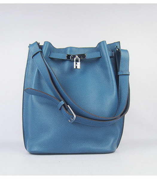 Hermes So Kelly Bag Middle Blue Togo Leather Silver Metal