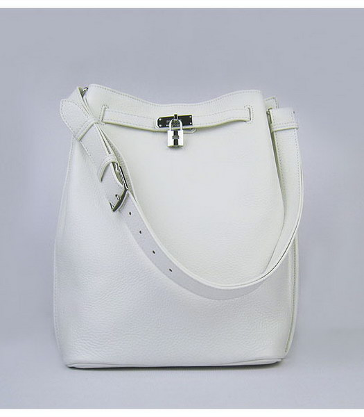 Hermes So Kelly Bag White Togo Leather Silver Metal