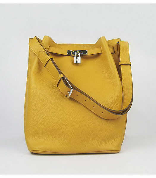 Hermes So Kelly Bag Yellow Togo Leather Silver Metal