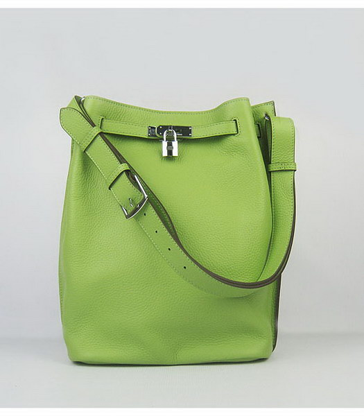 Hermes So Kelly Bag Green Togo Leather Silver Metal