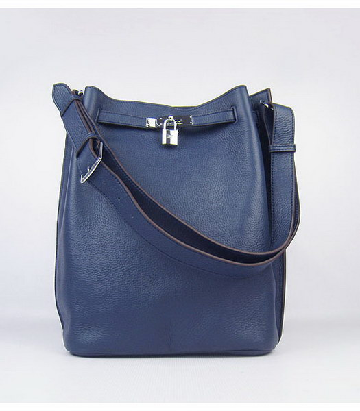 Hermes So Kelly Bag Dark Blue Togo Leather Silver Metal