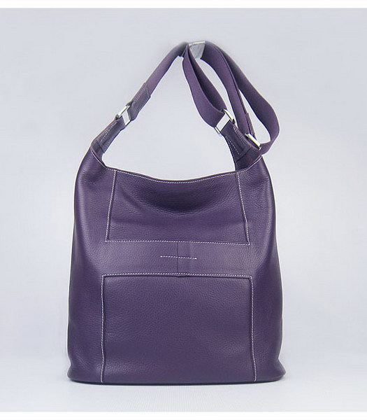 Hermes Shoulder Bag Purple Leather Silver Metal