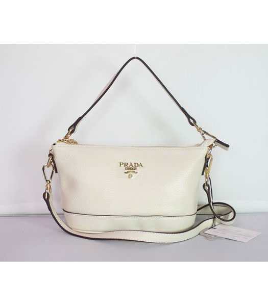 Prada Small Shoulder Bag in Offwhite Leather