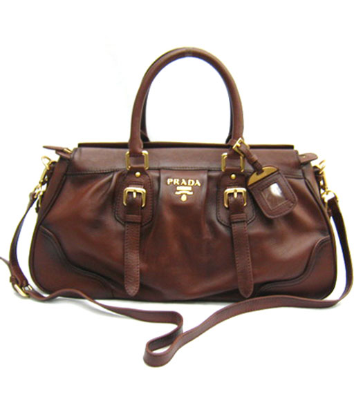 Prada Sacca Shoulder Bag in Coffee Leather_BN1228