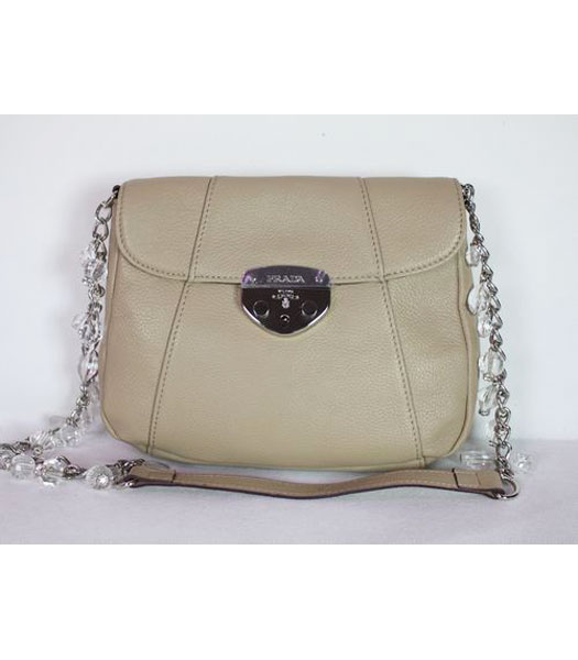Prada Chain Flap Bag in Apricot Leather
