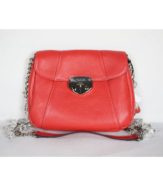Prada Chain Flap Bag in Red Leather