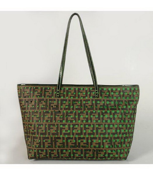 Fendi Perforated Zucca Spalmati Large Tote Bag in Green