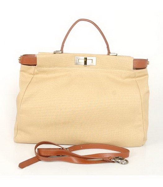 Fendi Peekaboo Tote Canvas Bag in Apricot
