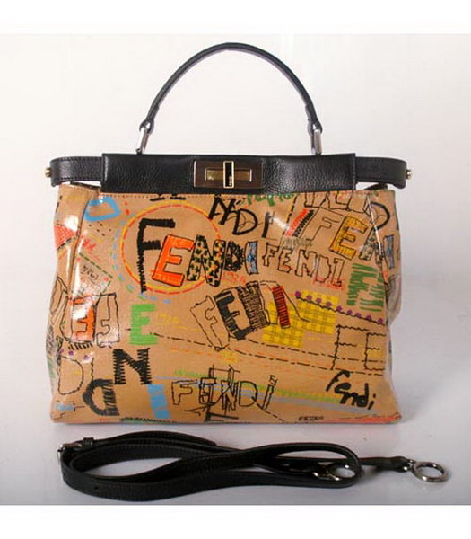 Fendi Graffiti Peekaboo Tote Handbags Light Coffee with Black Strap