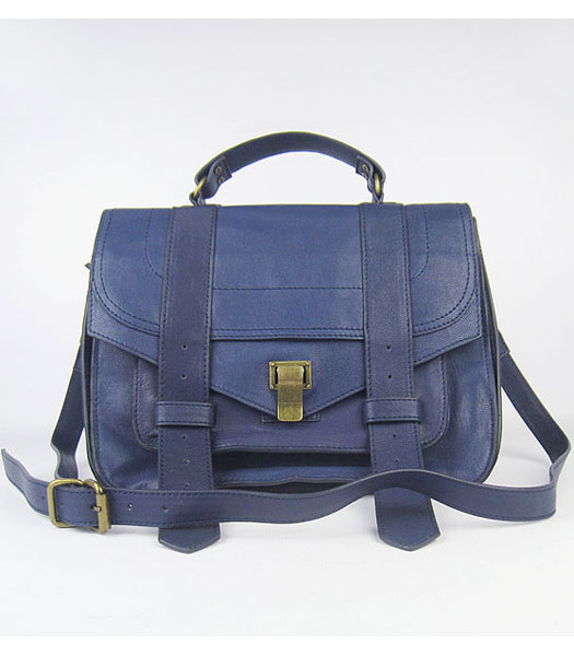 Proenza Schouler Suede PS1 Satchel Bag in Blue Lambskin