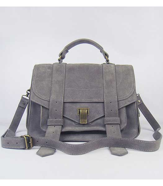 Proenza Schouler Suede PS1 Satchel Bag in Grey Cow Suede Leather