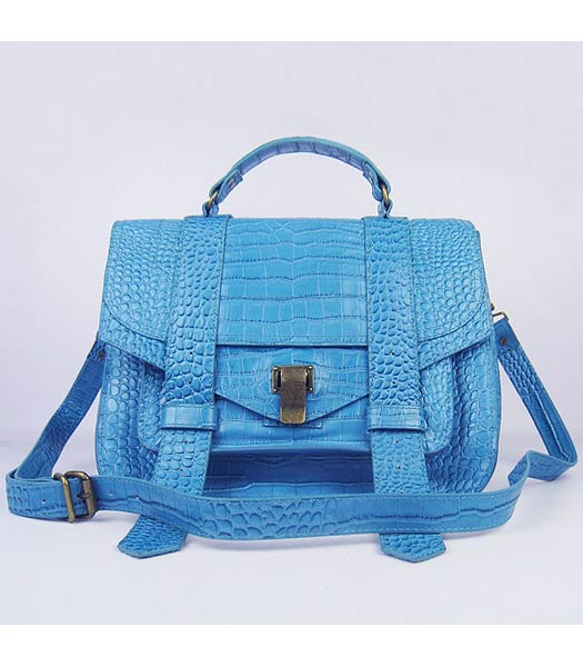 Proenza Schouler Suede PS1 Satchel Bag in Light Blue Croc Veins