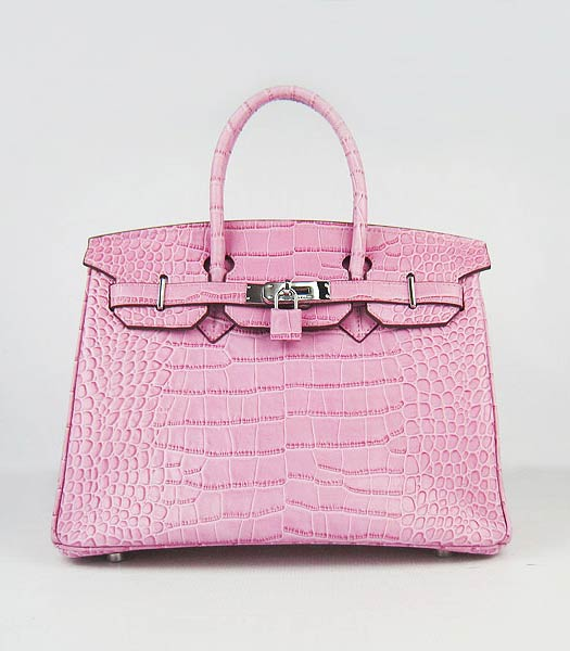 Hermes Birkin 30cm Bag Pink Croc Veins Leather Silver Metal